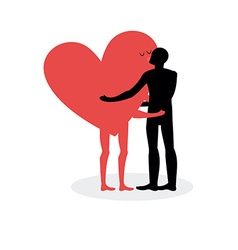 Kiss of lovers Man hugs heart Hot kiss on a date vector image