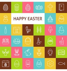 Line art happy easter icons set vector