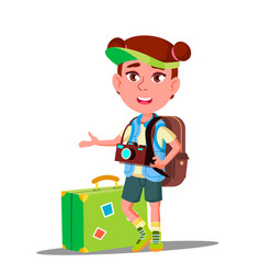 little traveler girl with suitcase cap on his vector image