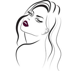 Long hair purple lips beauty icon vector