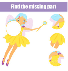 Magic fairy girl puzzle for toddlers find vector