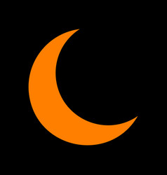 moon sign orange icon on black vector image