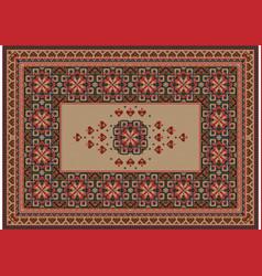 Old oriental carpet with brownbeigered patterns vector