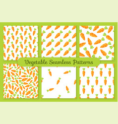 orange carrot flat vegetable seamless pattern set vector image