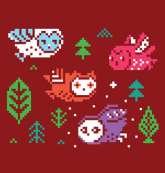 Owls and trees - pixel vector