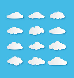 paper cloud different clouds on blue sky vector image