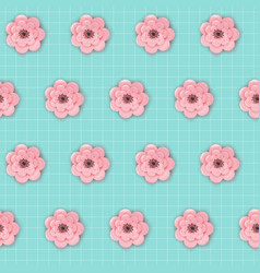 Paper cut flowers seamless pattern spring floral vector