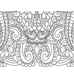 Pattern flower coloring for adults vector