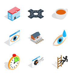 physiotherapist icons set isometric style vector image