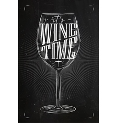 Poster wine time chalk vector