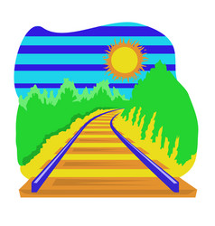 railway track going over horizon isolation on vector image