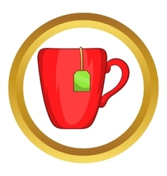 Red cup with tea bag icon vector image
