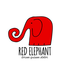 red elephant design vector image