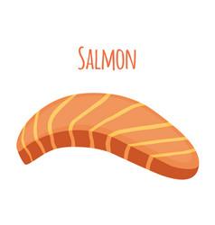 Salmon slice piece fish fillet fish steak vector