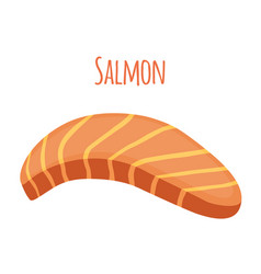 salmon slice piece of fish fillet fish steak vector image