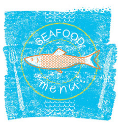 seafood restaurant menu on blue old paper vintage vector image