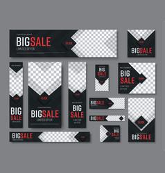 set black web banners standard sizes vector image