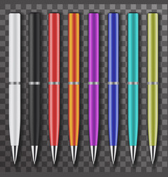 set colored white and black pens vector image