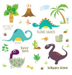 Set cute dinosaur characters vector