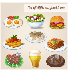 set different food icons vector image