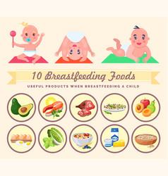 set newborns lettering 10 breastfeeding foods vector image
