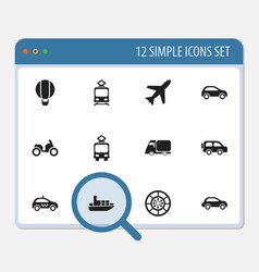 Set of 12 editable transportation icons includes vector