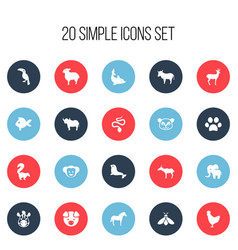 Set of 20 editable zoology icons includes symbols vector