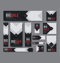 Set of black web banners of standard sizes for vector