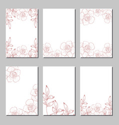 set of card with flower rose leaves vector image