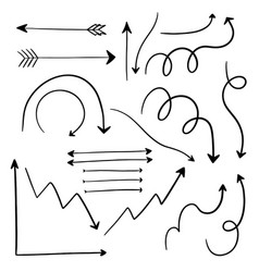 Set of various hand drawn arrow elements vector