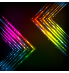 Shining neon arrows abstract background vector image