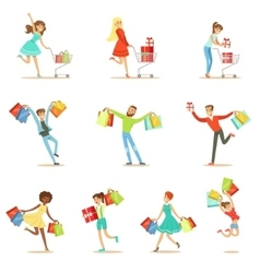 shopaholic people happy and excited running vector image