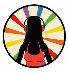 silhouette girl in headphones vector image