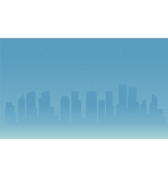 Silhouette of city and fog vector