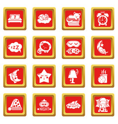 Sleeping icons set red square vector