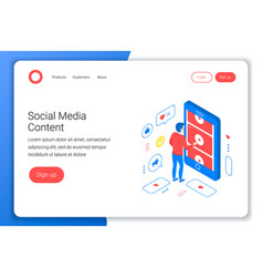Social media isometric concept vector