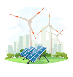 solar panels and wind turbines green energy vector image