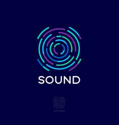 Sound logo musical acoustics waves emblem vector