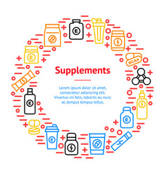 Sport supplements banner card circle vector