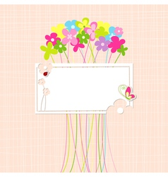 Springtime Colorful Flower and Butterfly Greeting vector