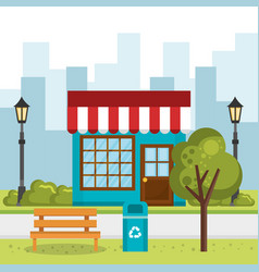Store building with cityscape scene vector