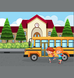 Students goinf to school by bus vector