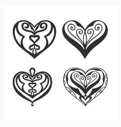 Stylize heart icon set isolated on white valentin vector