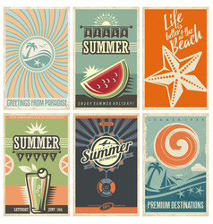 Summer retro posters collection vector