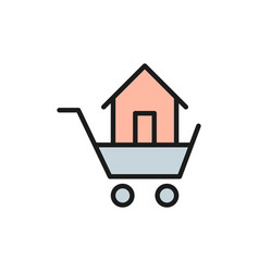 trolley with house sale buildings flat color vector image