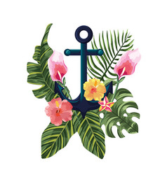 Tropical flowers with exotic leaves and anchor vector