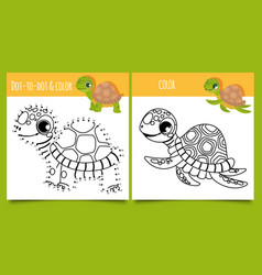 Turtle games dot dot and coloring game with vector