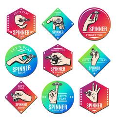 vintage colored spinner emblems set vector image