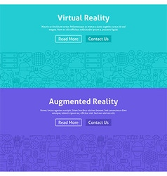 Virtual Reality Line Art Web Banners Set vector