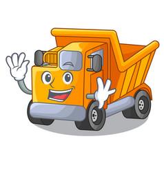 Waving cartoon truck transportation on the road vector